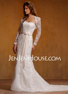 Wedding Dresses - $238.99 - Sheath/Column Sweetheart Chapel Train Satin  Lace Wedding Dresses With Lace  Sashes  Beadwork (002000396) http://jenjenhouse.com/Sheath-Column-Sweetheart-Chapel-Train-Satin--Lace-Wedding-Dresses-With-Lace--Sashes--Beadwork-002000396-g396