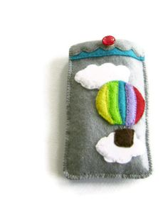 Phone mp3 Player Cosy Felt Pouch Hot Air by CandykinsCrafts, $25.00
