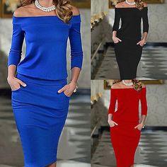 2016 Women Bandage Bodycon Long Sleeve Dresses OL Sexy Pencil Midi Pockets Office Dress #Affiliate