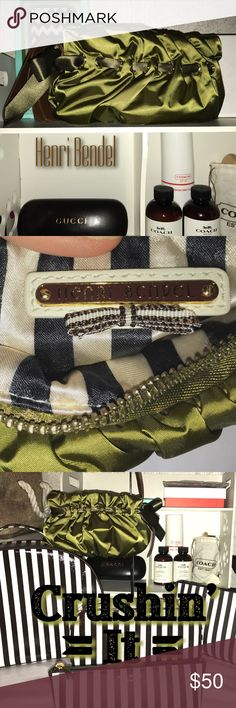 Henri Bendel fabulous ribbon wristlet Deep forest-green satin with a slightly more olive ribbon weaved around and tied in a bow at the wrist strap. Inside is black/white stripe. Has a brown leather strap and a fabulous Henri Bendel signature zipper pull with a key hole with the Bendel stripes. Gold accents. Would look fabulous with your LBD for any occasion!! No rips or tears and is in good condition!!! henri bendel Bags Clutches & Wristlets