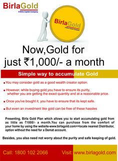 Gold savings plan like us on http://facebook.com/birlagoldsp