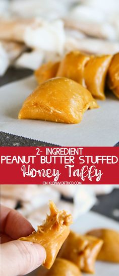 This super simple, 2-Ingredient, Peanut Butter Stuffed Honey Taffy is such a delicious treat. Tastes just like an Abba Zabba. Ready in less than 1 hour. via @KleinworthCo