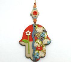 colorful hand made Hamsa Wall Hanging Decor floral by vickapcart, $17.00