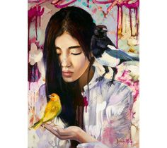 """Dimitra Milan's """"Fellowship of Peace"""" shows a girl and birds together in perfect harmony. This mixed media oil painting is availble in a variety of mediums and sizes."""