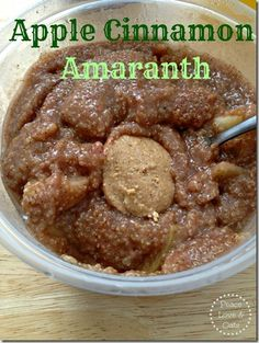 Apple cinnamon amaranth: yummy and filling. Used brown sugar instead of the sugar substitute. My toddler devoured it.