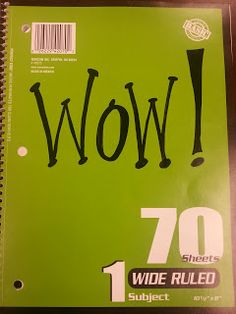 "Wow! notebook -- a morale booster! When a staff member receives the notebook, they read the wonderful message that someone wrote for them.  They, in turn, write a note to another staff member to encourage, give a boost, or to just say how much they are appreciated.  At the bottom of the page they write, ""Don't forget to pass it on....."""