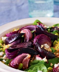 Beet and bulgar wheat salad with feta and mint- can't wait for garden beets!