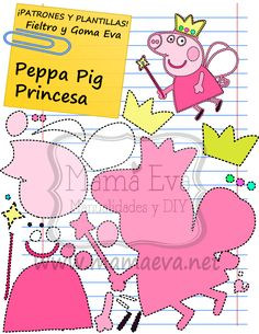 Descarga gratis nuestras plantillas para goma eva y fieltro de tus personajes de dibujos animados actuales favoritos: Peppa Pig, George, el Dinosaurio... Molde Peppa Pig, Peppa Pig Princesa, Pig Birthday, 4th Birthday Parties, Birthday Party Decorations, Felt Crafts, Diy And Crafts, George Pig, Felt Finger Puppets
