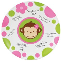"""Pink Mod Monkey Birthday Signature Plate Includes: (1) keepsake 11"""" signature plate with pen. Oven and dishwasher safe. Does not include plate stand. Weight (lbs) 1.91 Length (inches) 13.5 Width (inch"""