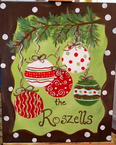 christmas ornament painted on black canvas - Google Search