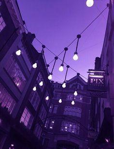 Night sky, purple, lights, outside, summer nights Violet Aesthetic, Dark Purple Aesthetic, Lavender Aesthetic, Aesthetic Roses, Aesthetic Shop, Night Aesthetic, Aesthetic Themes, Aesthetic Art, Purple Rooms