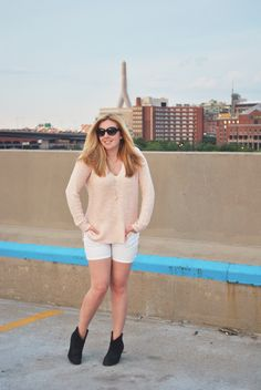 pink sweater with shorts // summer outfit // boho summer outfit // sexy summer outfit // views of boston // boston // kate spade // banana republic // ann taylor // thoughtfulwish