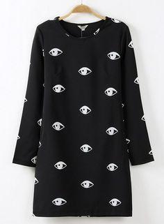 Black Long Sleeve Eyes Print A Line Dress #dress #dresses