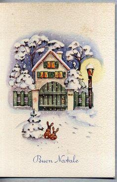 Paesaggio di Neve Illustratore Italiano BUON NATALE XMAS PC Circa 1950 6