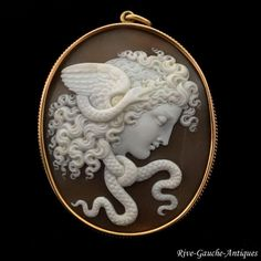 14kt Antique Large Museum quality high-relief caved cameo pendant of Medusa, ca 1870
