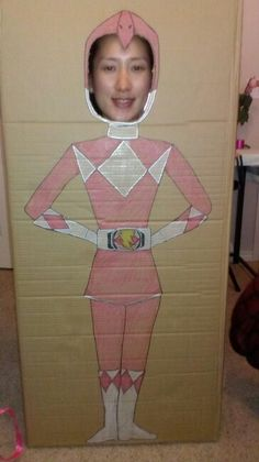 Pink power ranger head cut outs