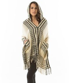 Black & Cream Stripe Fringe Hooded Poncho