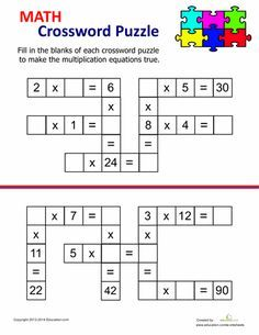These multiplication worksheets cover everything from times tables to multiplying with decimals. We feature multiplication worksheets for kids of every level. Math Multiplication, Maths Puzzles, Crossword Puzzles, 4th Grade Math Worksheets, Number Worksheets, Alphabet Worksheets, Math For Kids, Fun Math, Math Resources