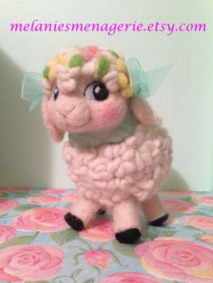 Felted White Wool Lamb with Flowers and Mint by MelaniesMenagerie