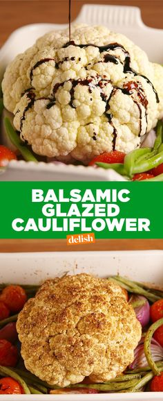 Balsamic Glazed Roasted Cauliflower Is More Than Just A Stunner - Healthy Meals - Blumenkohl Low Carb Recipes, Vegetarian Recipes, Cooking Recipes, Healthy Recipes, Healthy Meals, Gf Recipes, Vegan Meals, Diabetic Recipes, Healthy Eating