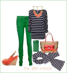 Green, navy, and coral... LUV!