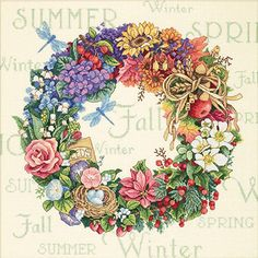Wreath Of All Seasons Counted Cross Stitch Kit - Overstock™ Shopping - Big Discounts on Dimensions Cross Stitch Kits Cross Stitch Borders, Cross Stitch Flowers, Cross Stitch Designs, Cross Stitching, Cross Stitch Patterns, Ribbon Embroidery, Cross Stitch Embroidery, Embroidery Patterns, Dimensions Cross Stitch