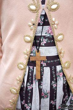 Grimoire Almadel Embellished Jacket & Needlepoint Purse w/ Romantic Tights