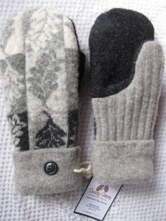 Sweaty Mitts - Upcycled Wool Sweater Mittens - Women's - Recycled Handmade in Wisconsin - Black Gray White Grey Wool Leaf Pattern Sweater Mittens, Old Sweater, Wool Sweaters, Sewing Hacks, Sewing Crafts, Sewing Projects, Wool Felt, Felted Wool, Recycled Sweaters