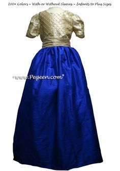 TAWNY GOLD GRAY and INDIGO BLUE junior bridesmaid dress style 409 by Pegeen - made as a  floor length flower girl dress