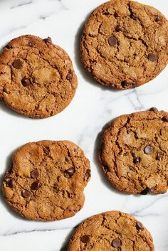 These huge Chickpea Flour Chocolate Chip Cookies are chewy and a perfect treat. These cookies need 1 Bowl, are grain-free, gluten-free vegan and can be made nut-free. | VeganRicha.com