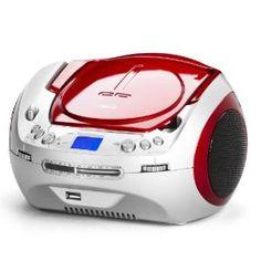 Stereo Radio, mit Tragegriff, Musikanlage mit Top Loading CD Player, USB, MP3, LCD Anzeige, 2 x 3 Watt, Rot, NEU + OVP beste Angebot « CD-Player Mit USB Anschluss