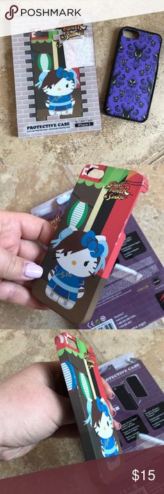 iPhone 5 case bundle Disney Hello kitty chun li Used hello kitty street fighter chun li case and Disney haunted mansion iPhone 5 cases. Noticeably worn on shells kitty case. Haunted mansion case is coming off on the side but might be fixable with glue or something. Disney Accessories Phone Cases