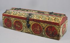 Box for game pieces, ca. 1300  German  Painted wood with iron mounts