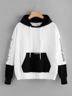 To find out about the Letter Embroidered Kangaroo Pocket Color Block Hoodie at SHEIN, part of our latest Sweatshirts ready to shop online today! Stylish Hoodies, Cool Hoodies, Colorful Hoodies, Cute Lazy Outfits, Cool Outfits, Mode Adidas, Jugend Mode Outfits, Teen Fashion Outfits, Fashion Jobs
