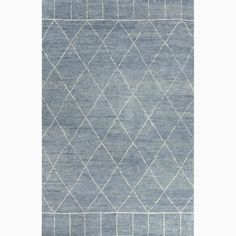 Handmade Moroccan Pattern Blue/ Ivory Wool Rug (8 x 10)
