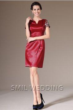 dd2588c576b1cb korte rode jurk satijn Korte Mouw pailletten Knie-Lengte GJ2014377