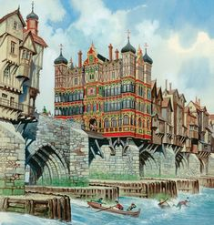 Old London Bridge - A brief history. Many bridges have spanned the River Thames, but the most fascinating of all was the medieval Old London Bridge with its houses, shops and chapel. London History, Tudor History, British History, Asian History, Old London, London Art, London Landmarks, Ancient Architecture, Water Architecture