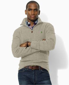 Polo Ralph Lauren Sweater, Polo Fleece Half Zip Sweater - Mens Sweaters - Macy's  .... even though its for guys, with tights???