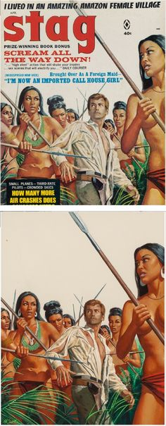MORT KÜNSTLER  - I Lived in an Amazing Amazon Female Village - April 1968 Stag - items by pulpcovers