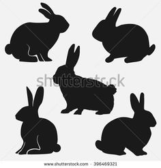 Set rabbits silhouette, vector illustration. Easter.