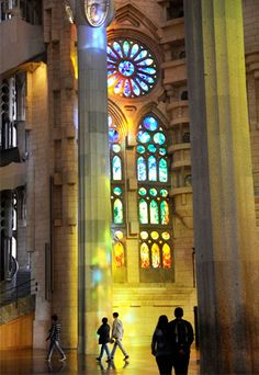 Stunning stained glass rose window at La Sagrada Familia in Barcelona ...been there...❤ it!!!