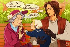 baby!Steve charming old ladies fanart by temariart #deaged
