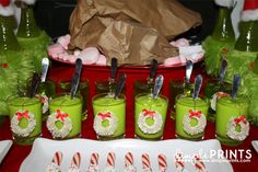 Roast Beast & Who-Pudding, cute ideas for a Grinch Party! Grinch Christmas Party, Grinch Party, Christmas Themes, Christmas Ornaments, Holiday Decor, Party Themes, Party Ideas, Cookie Exchange, Dimples