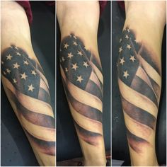 black and grey American Flag by Patrick Raymond