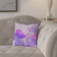"August Grove Elwyn Watercolor Butterfly and Rose Cotton Pillow Cover Size: 26"" x 26"""