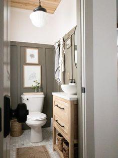 Upstairs Bathrooms, Downstairs Bathroom, Bathroom Renos, Small Bathroom, Half Bathroom Decor, Half Bathroom Remodel, Master Bathroom, Bathroom Inspiration, Home Decor Inspiration