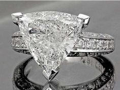 2 Carat Trillion Cut Diamond Engagement Wedding Ring 18k White Gold Certified #Custom #SolitairewithAccents