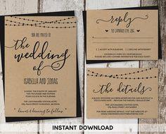 Wedding Invitation Template   Rustic Printable Set | String Lights,  Calligraphy | Kraft Paper |