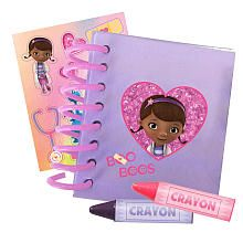 Disney Doc McStuffins Big Book of Boo Boos Doc McStuffins, doctor to stuffed animals and toys, uses her Disney Doc McStuffins Big Book of Boo Boos to record all of her expert diagnoses! Item includes spiral hard cover notebook with sparkly details, wipe off pages, notebook paper, 2 dry erase crayons and shiny sticker sheet to decorate your book. The Doc Is In!