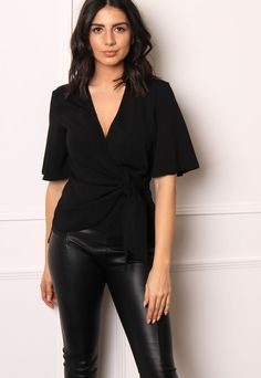 928ea66a9cc Wrap   Tie Blouse with Angel Sleeves in Black – One Nation Clothing Angel  Sleeve